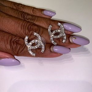 CHANEL Large Crystal CC Earrings